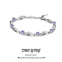 2015 Rock Long Korea Style Kpop pulseras mujer Blink Stones Water Drop Zinc Alloy Charm Crystal Silver Bracelets For Women