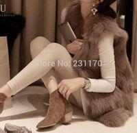 Plus Size Faux Fur Vest 2014 Autumn Winter Women Fake Fox Fur Coat Sleeveless Plus Size Fur Vest XS-3XL 8colors Free Shipping
