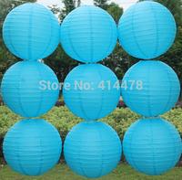 2015 Sky Blue 10pcs/lot 12''(30cm) Round paper lantern Free shipping paper lantern festival wedding decoration party Supplies