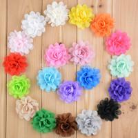 "Free Shipping 300pcs/ lot 20 colors High quality handmade 2"" Mini Chiffon Flowers Flat Back for baby headbands accessories"