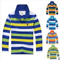 20 colors Kids Large baby boy cotton striped T-shirt 2015 boys POLO shirt lapel children long-sleeved T-shirt free shipping