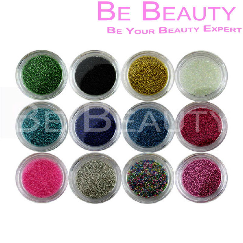 Nail Art Accessory 1 Set 12 Colors Nail Art Trend Caviar Manicures Micro Beads NNA-040 Free Shipping(China (Mainland))