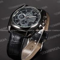 Brand New Casual Black Analog Leather Band Strap Quartz Male Wristwatch Relogio Dress Clock Men Military Sport Watch / PHN065