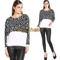 Women's Fashion Stylish Unique Splicing Color Pattern Batwing Long Sleeve Tops Blouse T-shirt