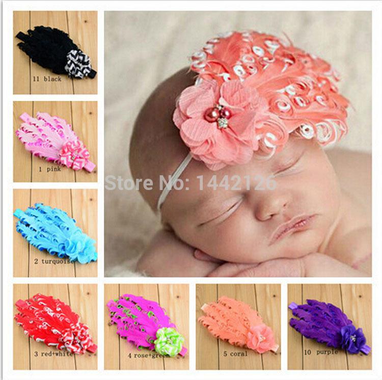 Colorful Handmade Hair Accessory Photo Props New Baby Girls Feather Style Headband Chiffon Flower Hairband with Diamond(China (Mainland))