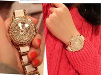 Korean fashion personality full of diamond  &rose gold luxury watches Ceramics Watchband