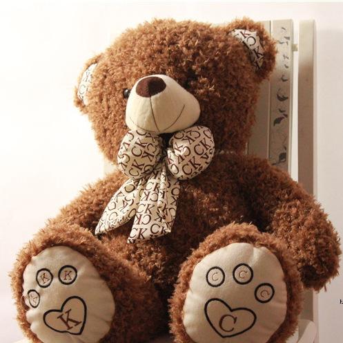 100cm big stuffed teddy bear cute bowknot brown stuffed animals giant plush teddy bear soft toys baby free shipping wholesale(China (Mainland))