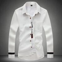 Men Shirt Fashion New 2015 Patchwork Stylish Man Linen Shirts Plus Size 5XL 4XL 3XL 2XL XL L M Fashion Slim Camisa Masculina
