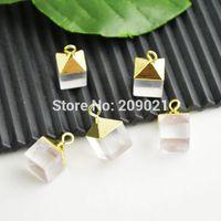 Square Shape 10Pcs Gold Plated Edge Druzy Rock Quartz Stone Charms Pendant Jewelry Finding