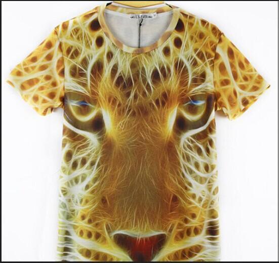 Women Men Clothing 3D Wild Beasts Pet Printed Panda Tiger Wolf Dog Cat Dinosaur T-shirt Short Sleeves Tops Tees Pattern 39(China (Mainland))