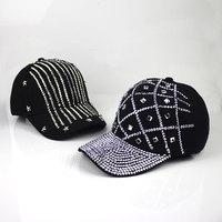 High quality handmade customize fashion rhinestone grid five-pointed star baseball caps sun shading cap female