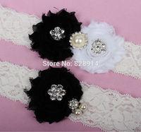 Original Design White and Black Color Shabby Flower Wedding Lace Garter for Bridal Garter made of Shabby Flower Handmade