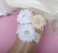 Original Design White and Ivory Color Shabby Flower Wedding Lace Garter for Bridal Garter made of Shabby Flower Handmade