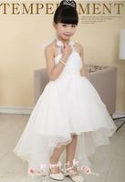 free shipping new children's dress girls dress Bra pearl belt decoration long paragraph trailing white children clothes