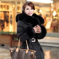 2015 medium-long fox fur down coat female plus size thickening wadded jacket outerwear