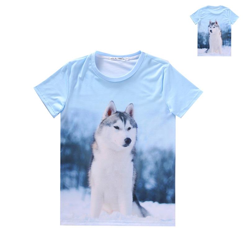 Women Men Clothing 3D Wild Beasts Pet Printed Panda Tiger Wolf Dog Cat Dinosaur T-shirt Short Sleeves Tops Tees Pattern 8(China (Mainland))