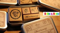 New fashion france life style wood stamp set / 4 pcs / set with Tin case  / Decorative DIY work /Wholesale