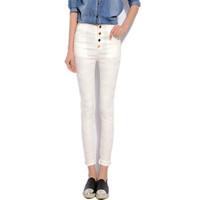 Plus Size 3XL Skinny Pencil Pants leggings 2015 Fitness Lace Black White Pants High Waist  Women's Pants With Buttons 1501185