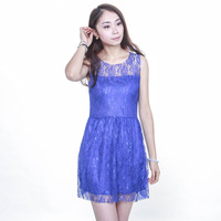 Hot sales 2015 New European and American Slim sleeveless dress party elegant purple lace mini sexy dress free shipping