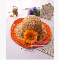 2015 New Women Two-color Flower Beach Cap Sunbonnet Sun Hat Large Brim Straw Hat  Female Fashion Free Shipping