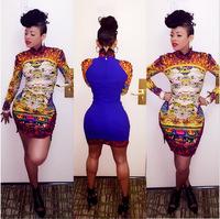 Bodycon Sexy Dress 2014 Summer long sleeve print patchwork Dress Women Slim Party Club Dresses