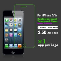 Ultra Thin 0.4MM Arc edge HD Clear Tempered Glass Screen Protector Explosion-proof Protective film For iPhone 5 5s