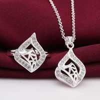 Free Shipping Wholesale 925 Sterling Silver Jewelry Sets,925 Silver Fashion Jewelry,fan web R+N SMTS773
