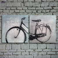 Bicycle Painting Direct From Artist Hand painted Modern Abstract Oil Painting On Canvas Wall Art  Decoration No Framed CT030