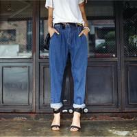 2015 Spring New Women Casual Pants Loose Vintage Boyfriend Denim Jeans Pants Roll up Cross Pants Plus Size For Women 1501187