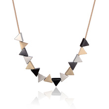 Fashion elegant womens jewelry 18k gold plated geometric triangle choker fake collar necklaces neckless for mothers day gift