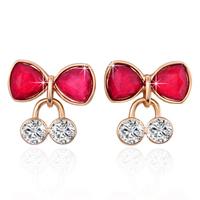 New Women Golden Cherry Earring Stud Fashion Women Crystal Red Gem Earring For Women Jewelry Christmas Gift ZG-0107