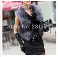 2014 Winter Fox Fur Vest Female Fashion Women Import Clothing Fake Fur Coat Overcoat Outwear Gilet Size S-3XL BIG SIZE Free ship