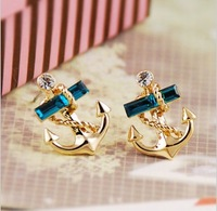 Fashion Sapphire Crystal Gold-plated Vintage Anchor Studs Hypo-allergenic Earrings