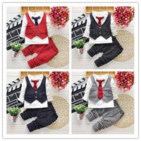 2015 Fashion Baby Boy Spring 2pcs Clothes Gentleman Suit Toddler Boys Tie Clothing Set Long Sleeve Plaid T-shirt + Pants