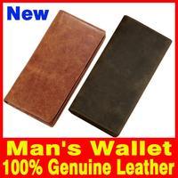 New 2015 Men bag Genuine Leather Wallet vintage Retro Crazy horsehide wallet for men's Factory sales