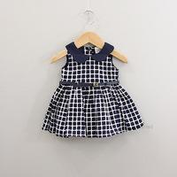 Children fantasia roupas infantil meninas vestidos infantis festa meninas vestir de menina baby girls collar plaid  belt dress