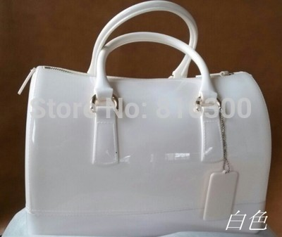 2015Famous designer brand Jelly candy bag with chain straps transparent pale white color bag women handbag free shipping(China (Mainland))