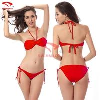 2015 Girls Beach suit Removable neck Halter Butterfly Top Strappy Triangl Butt Women swimwear VS Bikini