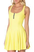Beach Wear 2015 Fashion Summer Women Casual Work Dresses Matte Yellow Evil Zip Dress Solid Skater Vestidos Bodycon S119-296