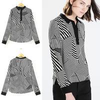 2015 Fashion New Design Collar Europe Celebrity Retro Womens Print Shirts Casual White/Black Stripe Triangle Tops Brand Blouses