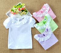 2015 Toddler Kids Girls T shirts Children Lace Collar Girl Blouses Roupas Bebes White Bottoming Girl Clothes Vestidos Meninas