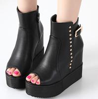 2015 New Increased Internal Fashion Women High Heel Shoes Rivets Side Zipper Peep Toe Solid Black Color Pumps