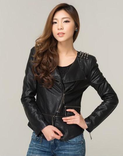 Spring new style black long sleeve slim motor biker jacket leather women 2015(China (Mainland))