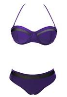 New 2015  Bikini Set  Summer Women Beach Swimwear Bikini Sexy Fashion Women Sexy  Push-up Bandeau Mesh Insert Bikini LC41067