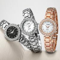 2015 New YAQIN Best sale Stainless Steel Wrist Watch Ladies Quartz Watch Analog Crystal Rhinestone Wristwatches 02-5