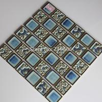 Bronze Color  Plating Pattern Square Ceramic Mosaic Bathroom/Kitchen/KTV/House/Hotel/Interior Wall Glass Art  Mosaic