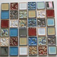 Mixed Color  Plating Pattern Square Ceramic Mosaic Bathroom/Kitchen/KTV/House/Hotel/Interior Wall Glass Art  Mosaic