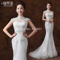 vestidos mermaid wedding dresses sexy lace wedding dress new 2015 train fashionable vestido de noiva robe de mariage 747