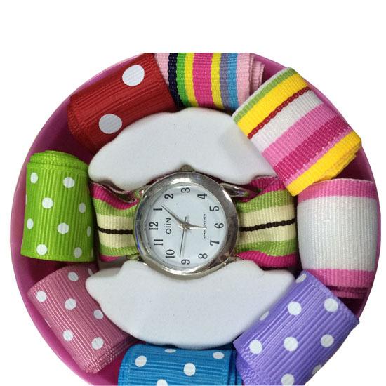 9 PCS Ladies Quartz Analog Type Interchangeable Straps Ribbon Watch(China (Mainland))