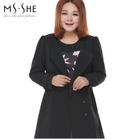 Msshe2014 plus size clothing mm medium-long women's trench outerwear autumn 7581
